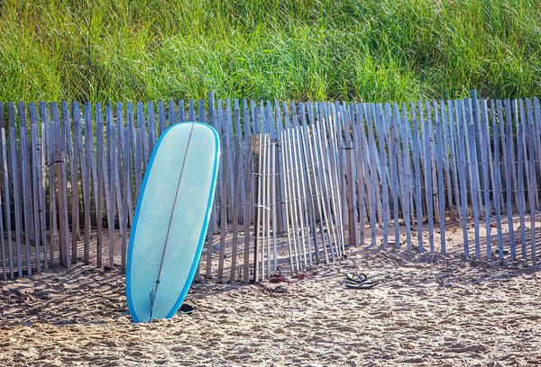 Surfboard Fence Photograph - Blue Surfboard At Montauk by Art Block Collections