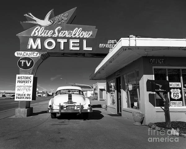 Wall Art - Photograph - Blue Swallow Motel In Black And White by Twenty Two North Photography
