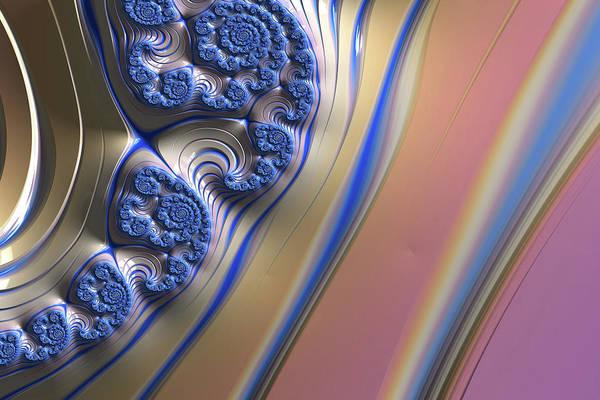 Wall Art - Digital Art - Blue Swirly Fractal 2 by Bonnie Bruno