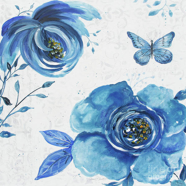 Wall Art - Painting - Blue Symphonie In The Garden 1 by Jean Plout