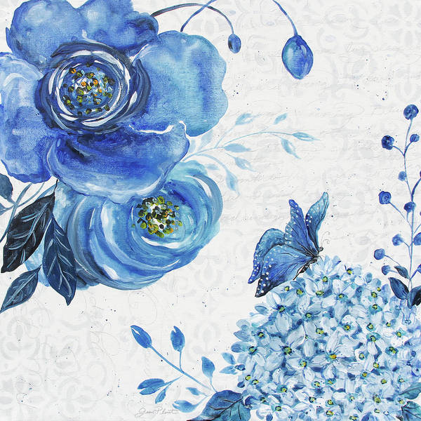 Wall Art - Painting - Blue Symphonie In The Garden 2 by Jean Plout