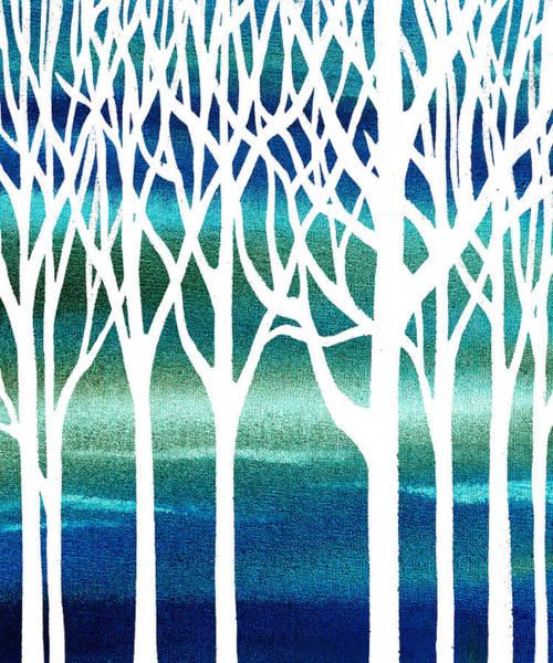 Into The Woods Wall Art - Painting - Blue Teal Forest by Irina Sztukowski