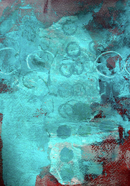 Beach Collage Painting - Blue Textures by Nancy Merkle