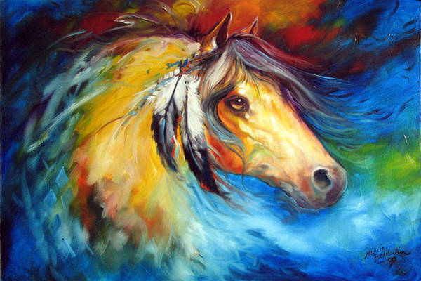 Painting - Blue Thunder War Pony by Marcia Baldwin