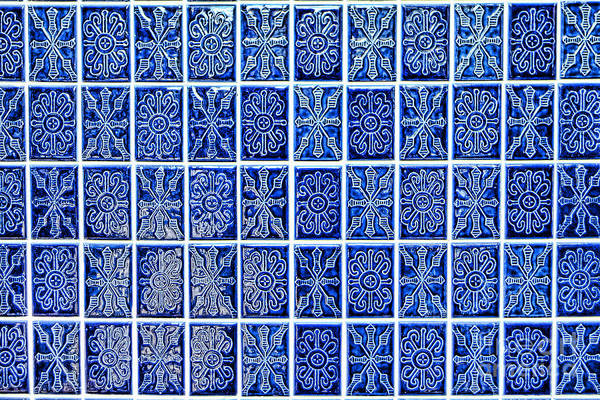 Photograph - Blue Tile Wall by Olivier Le Queinec