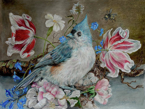 Titmouse Drawing - Blue Titmouse And Bee With Floral Still Life by Ruth Ann Ventrello