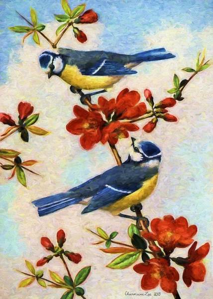 Digital Art - Blue Tits On Quince Flowers by Charmaine Zoe