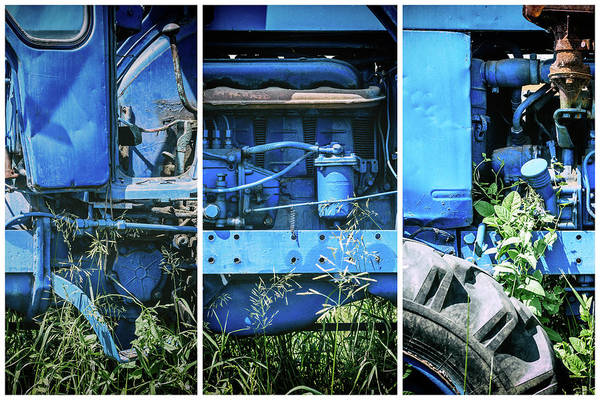 Photograph - Blue Tractor Green Nature Triptych by John Williams