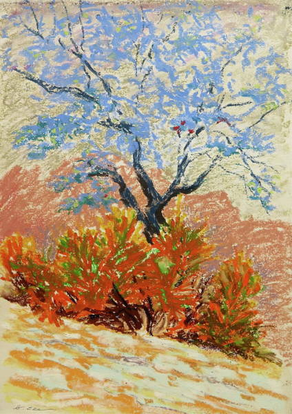 Dark Pink Drawing - Blue Tree by Bonnie See