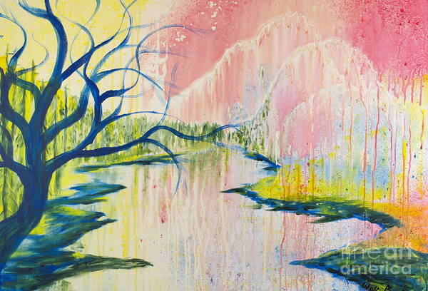 Painting - Blue Tree By The River by Walt Brodis