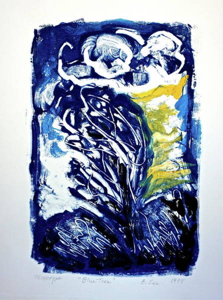 Monotype Mixed Media - Blue Tree Monotype by Bonnie See