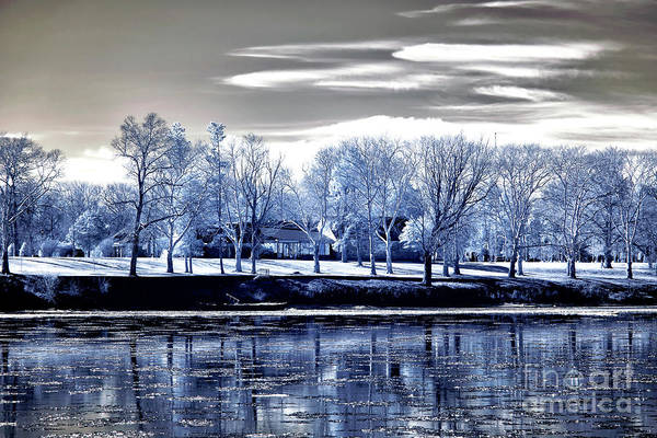 Photograph - Blue Trees Across The Delaware by John Rizzuto