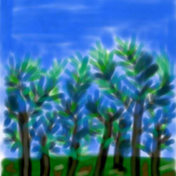 Blue Trees Express Art Print