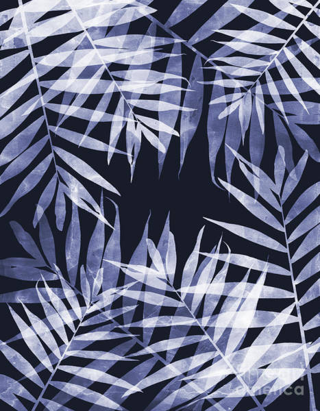 Mixed Media - Blue Tropical Leaves by Emanuela Carratoni