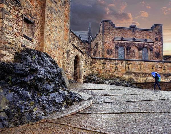 Photograph - Blue Umbrella At Edinburgh Castle by Coleman Mattingly