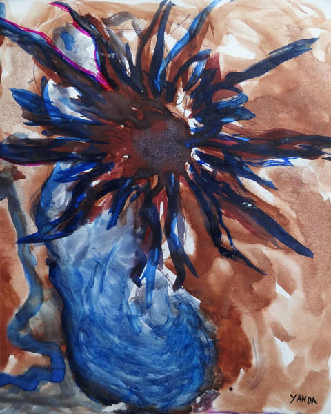 Mixed Media - Blue Vase Flower Of The Sun by Katt Yanda