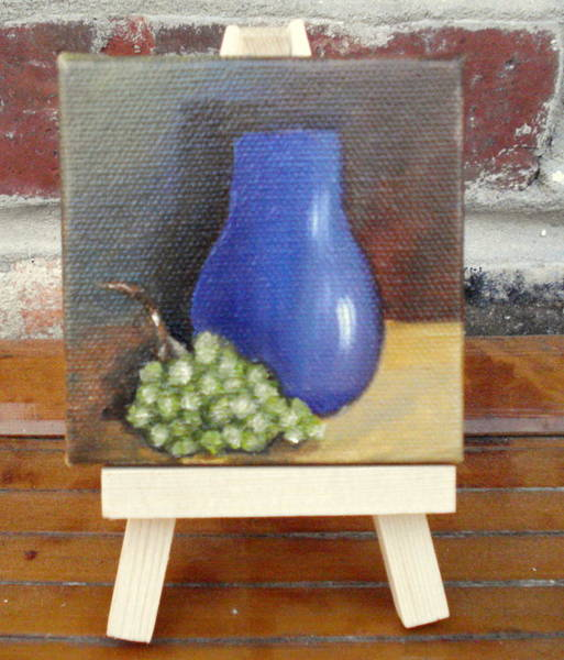 Painting - Blue Vase Miniature With Easel by Susan Dehlinger