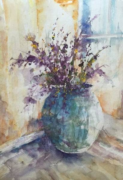 Painting - Blue Vase Of Lavender And Wildflowers Aka Vase Bleu Lavande Et Wildflowers  by Robin Miller-Bookhout
