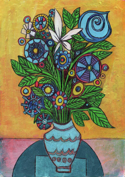 Amaryllis Painting - Blue Vase With Flowers by Stephen Humphries