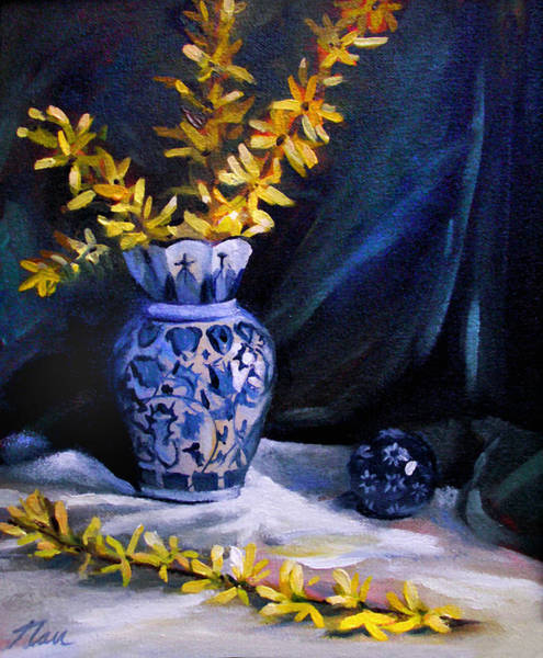 Forsythia Painting - Blue Vase With Forsythia  by Nancy Griswold