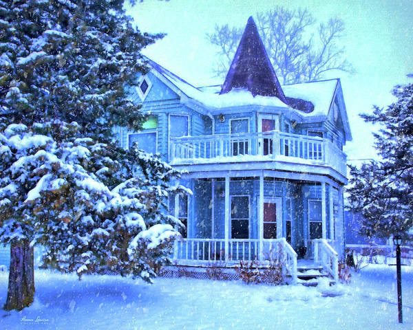Photograph - Blue Victorian House In Snow by Anna Louise