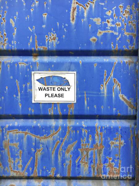 Wall Art - Photograph - Blue Waste Bin by Tom Gowanlock