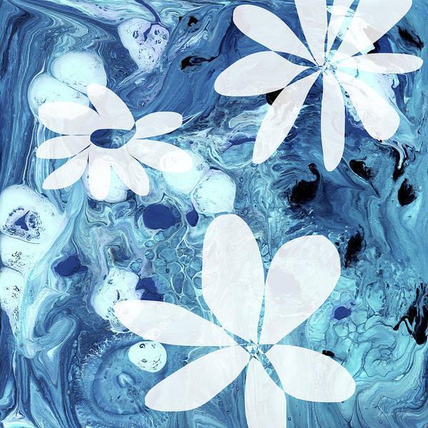 Wall Art - Mixed Media - Blue Water Flowers- Art By Linda Woods by Linda Woods