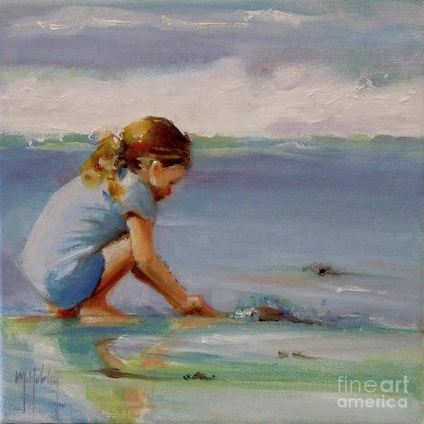 Sand Castle Painting - Blue Water Girl Beach Baby Child by Mary Hubley
