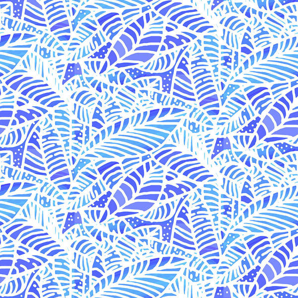 Digital Art - Blue Water Leaves by Karen Dyson