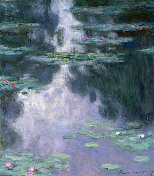 Wisteria Wall Art - Painting - Blue Water Nymphaeas by Claude Monet