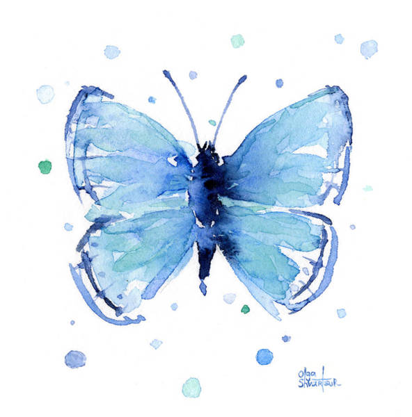 Wall Art - Painting - Blue Watercolor Butterfly by Olga Shvartsur