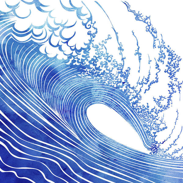 Wave Wall Art - Mixed Media - Blue Wave by Stevyn Llewellyn