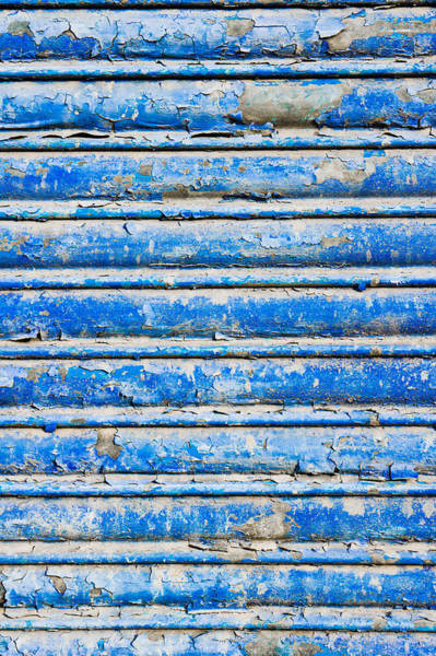Rotten Wall Art - Photograph - Blue Weathered Metal  by Tom Gowanlock