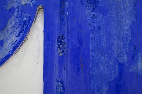 Blue Weathered Wall Of Old World Europe Art Print