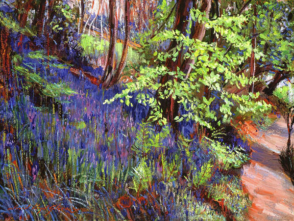 Painting - Blue Wildflowers Pathway by David Lloyd Glover