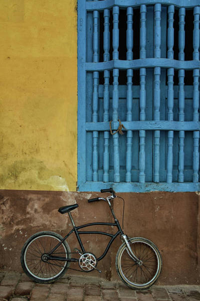 Photograph - Blue Window And The Bicycle  by Marzena Grabczynska Lorenc