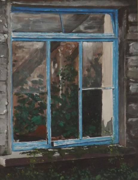 Dereliction Painting - Blue Window Frame by Tony Gunning