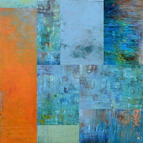 Monochromatic Painting - Blue With Orange 2.0 by Michelle Calkins