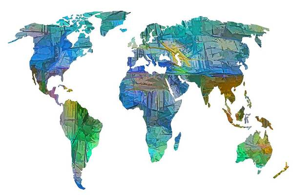 Digital Art - Blue World Transparent Map by OLena Art - Lena Owens