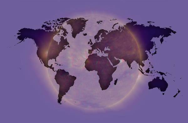 Digital Art - Blue Worldmap Planet  by Alberto RuiZ