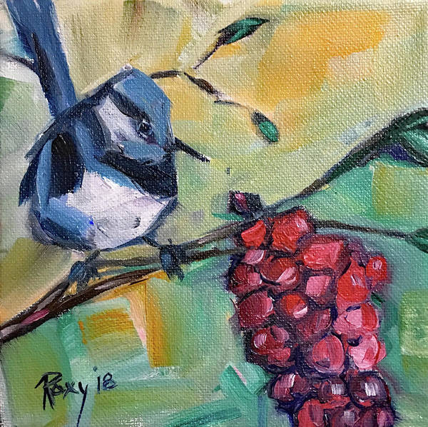 Animal Painting - Blue Wren With Grapes by Roxy Rich