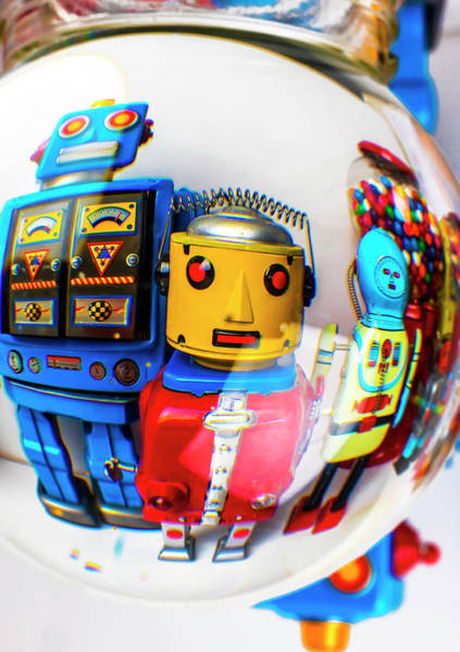 Wall Art - Photograph - Blue Yellow Robots by Garry Gay