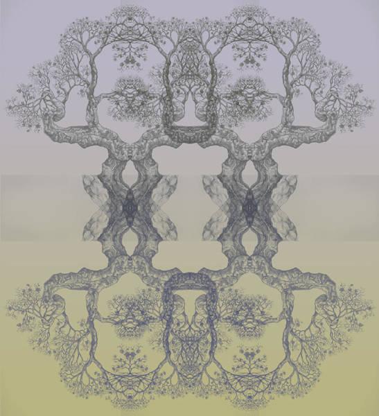 Blue Yellow Tree 14 Hybrid 4 Art Print