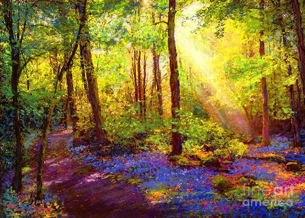 Birches Painting - Bluebell Blessing by Jane Small