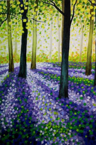 Wall Art - Painting - Bluebell Carpet by John  Nolan