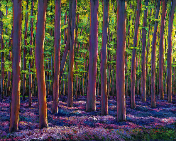 Wildflowers Wall Art - Painting - Bluebells And Forest by Johnathan Harris