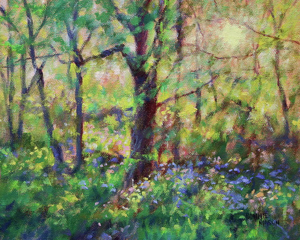 Wall Art - Painting - Bluebells At Sunset-along The Roanoke River by Bonnie Mason