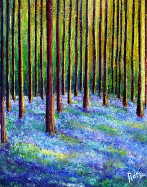 Romo Painting - Bluebells In The Forest by Robin Monroe