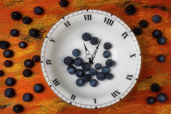 Wall Art - Photograph - Blueberries In Clock Bowl by Garry Gay