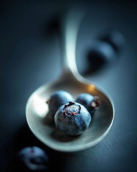 Brass Photograph - Blueberries Macro Still Life by Johan Swanepoel